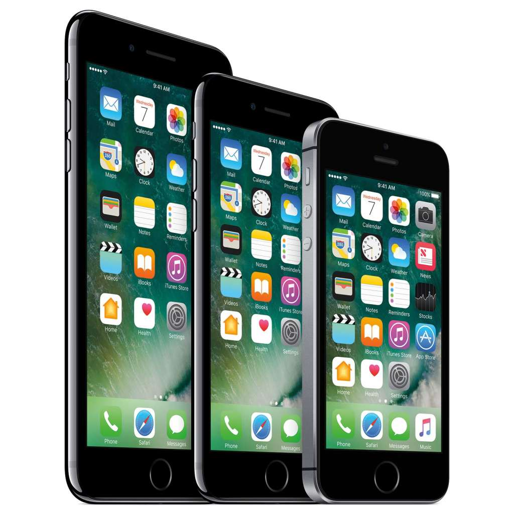 The iPhone range as it now stands, with the iPhone 7 Plus, the iPhone 7, and the iPhone SE.