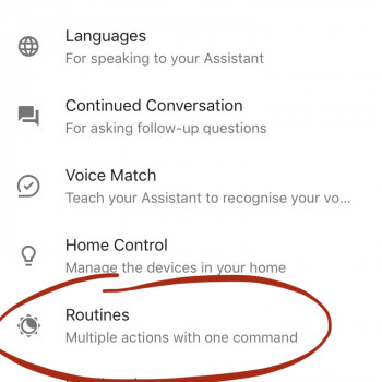 Google Home routines - Routines control in Google Assistant settings